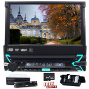 7 Single 1din Car Dvd Cd Player Flip Out Head Unit Touch Screen Swc Aux Camera