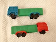 2 Vintage Pez Candy Dispensers Trucks R4 Green W/ Red Cab And Green W/ Blue Cab