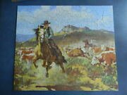 Vintage Guild Puzzle Western Round-up Cowboy And Horses, 304 Pieces Complete