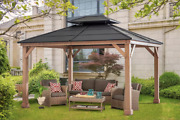 12and039 X 10and039 Cedar Outdoor Gazebo With Steel Roof