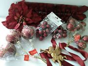 Christmas Decorations Ornaments Burgundy Cabernet Red Gold Balls Angel Bows Lot