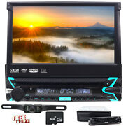 Single 1 Din In Dash Stereo Car Dvd Cd Player Gps Touch Screen Rear View Camera