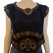 Vtg Antique 20s Art Deco Embroidered Beaded Short Sleeved Silk Top Blouse Sz Xs
