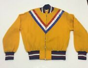 Vtg Mitchell And Ness Golden State Warriors Nba Hwc Wool Yellow Jacket Large Rare