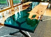 Epoxy Table-custom Order Acacia Wooden Table With Iron Legs 29 Inches Tall Deco