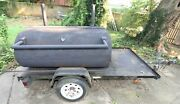 Commercial Smoker Mounted On Trailer Grates Wood Or Charcoal Burning