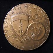 Uja United Jewish Appeal Medal For 20th Anniversary Ve Day 1965 By Jennewein