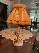 Vinatage Goebel Hummel Out Of Danger Table Lamp With Original Shade And Cord