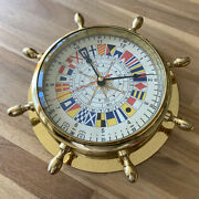 Nautical Ships Wheel Solid Brass Wall Clock With Maritime Signal Flags Dial