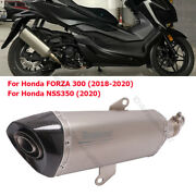 Slip On For Honda Forza 300 Nss350 Motorcycle Exhaust Middle Pipe Carbon Muffler