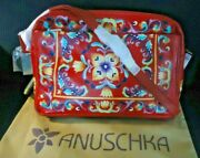 Anuschka Tuscan Tiles Red Hand Painted Leather Organizer Sachel Dust Cover - Nwt