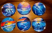 Rare Full Set Of 6 Franklin Mint Delamry Night Dawn Spring Of The Dolphin Plates