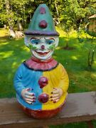Antique Rolly-toys West Germany Paper Mache Roly Poly Clown Mohair Hair Musical