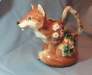 Vintage 1990 Fitz And Floyd Fox Pitcher 1¼ Qt - Woodland Collection