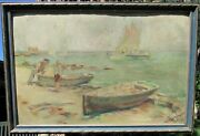 Antique Signed Early California Plein Air 1913 Oil Painting Coastal Landscape