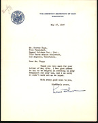 The Assistant Secretary Of War, Louis A. Johnson 1939 Signed Washington Letter