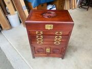 Beautiful Antique Carved Chinese Rosewood Flatware Silverware Oriental Chest