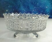Antique Thousand Eye Clear Pressed Glass Compote Adams And Co. 1874 - 1891