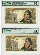 France 100 Nf Two Consecutive Notes 1960 Pick 144a Pmg Choice Unc 64 Rare