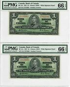 Canada 1 Lot Of Two Consecutive Banknotes 1937 Bc-21c Pmg Gem Unc 66 Epq Pair