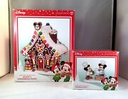 Dept 56 Mickey's Gingerbread House + Sugar And Spice Lot Of 2 Disney Village D56