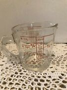 Vintage Pyrex 508 Clear Glass Measuring Cup 8oz Limit Has D Handle And Red Lines