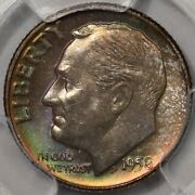 1958-d Roosevelt Dime Pcgs Ms-65 Lots Of Colorful Rosies At Rrc