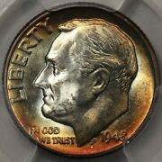 1948 Roosevelt Dime Pcgs Ms-66 - Lots Of Colorful Rosies At Rrc
