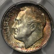 1946 Roosevelt Dime Pcgs Ms-66 Lots Of Colorful Rosies At Rrc