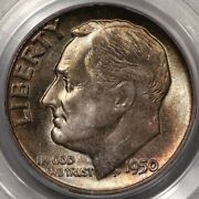 1950 Roosevelt Dime Pcgs Ms-67 Lots Of Colorful Rosies At Rrc