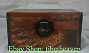 14.4 Old China Huanghuali Wood Carving Palace Ghost Eyes Chest Jewelry Box