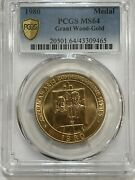 1980 Grant Wood Gold Commemorative Medal Pcgs Ms64 Looks Better