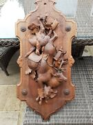 Rare Gorgeous Large Antique Black Forest Hunt Themes Wall Plaque Deer And Game