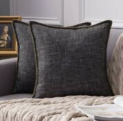Miulee Pack Of 2 Decorative Throw Pillow Covers Farmhouse Modern Trimmed Cord Li