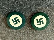 Vintage Two Emerald Green American Native Clay Not Swastika Poker Chips