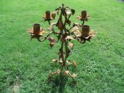 Antique Wrought Iron Candelabra Candle Holder Leaves Designs 4 Candle Rustic