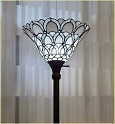 Style Torchiere Standing Peacock Floor Lamp 72 Tall Stained Glass Shade