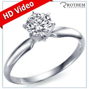 0.94 Ct Round Solitaire Diamond Engagement Ring G Si1 18k White Gold 57852358