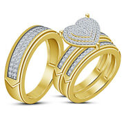 His And Her Diamond Trio Engagement Wedding Bridal Ring Sets 14k Yellow Gold Over