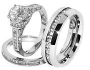 His And Her Trio Wedding Ring Sets 14k White Gold Over Diamond Engagement Band