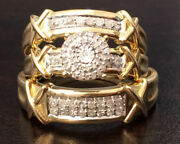 Diamond Bridal Sets Yellow Gold Plated Trio Wedding Engagement Ring His And Her