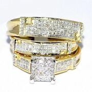 Diamond Wedding Sets Yellow Gold Finish Trio His And Her Bridal Engagement Ring