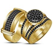 2 Ct Diamond Trio Wedding Sets 14k Yellow Gold Over Engagement Band Ring His Her