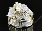 His Her Engagement Diamond Bridal Sets Trio Wedding Ring 14k Yellow Gold Over