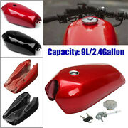 9l/2.4gallon Universal Motorcycle Cafe Racer Fuel Gas Tank W/cap Stainless Steel