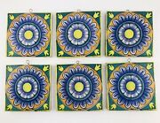 6 Vintage Hand Painted Tiles Italian Pier 1 Wall Artist Signed Duca Di Camastra