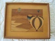 Hudson River Ballooning Inlay Wood Picture Marquetry - By Jeff Nelson 16x13