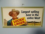 Nos Scarce 1950and039s Vtg Lucky Lager Beer Bar Sign Cowboy Western Range Ranch Hand