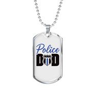Police Badge Dad Necklace Stainless Steel Or 18k Gold Dog Tag 24 Ball Chain