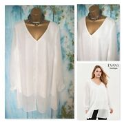 New Ladies Evans Top Plus Size 20 Stunning Ivory Overlay Blouse Occasion Top